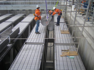 Installation of troughs as part of MRI's inclined plate settler